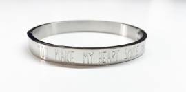 "Stainless Steel armband zilver dik ""You make my heart smile"""