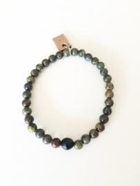 Armband Bloedsteen en Regenboog Obsidiaan