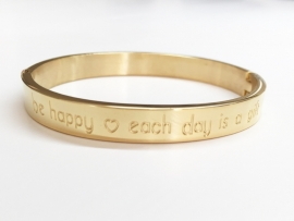 "Stainless steel armband goud ""Be happy each day....."