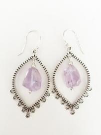 Amethyst zilveren oorbellen