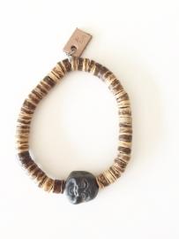 Armband kokosdisc met zwarte Jaspis