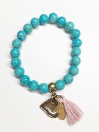 Jade aqua blue armband brons