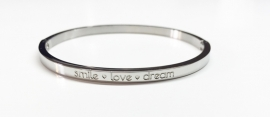 "Stainless Steel armband zilver dun ""Smile *love *Dream"