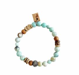 Agaat, Sandalwood en kokos armband