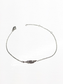 Armband Stainless Steel feather Zilver