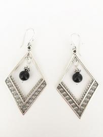 Obsidiaan oorbellen zilver
