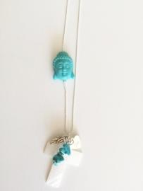 Ball chain ketting met schelp kruis en Turkoois