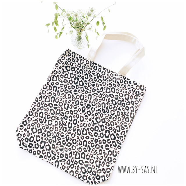 Canvas tas met panterprint