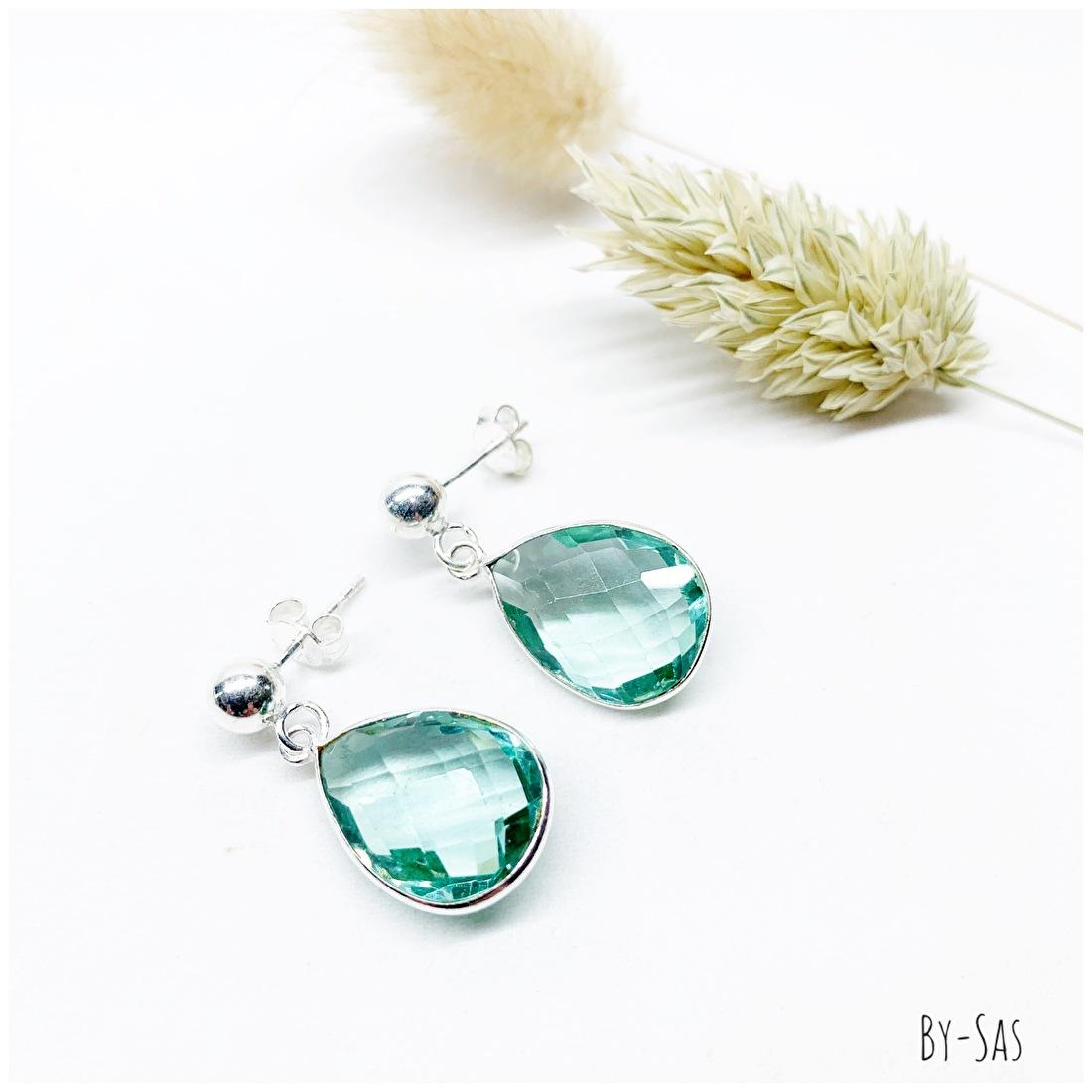 oorbellen zilver met edelsteen