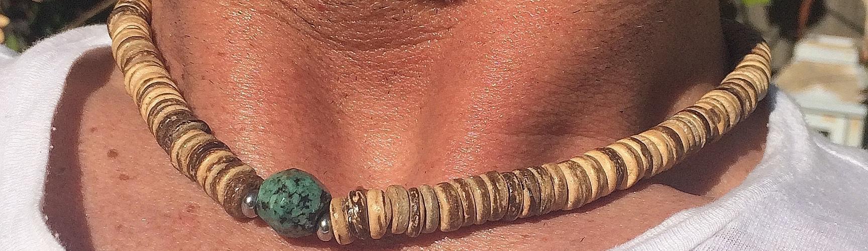 kokosdisc met Turkoois ketting