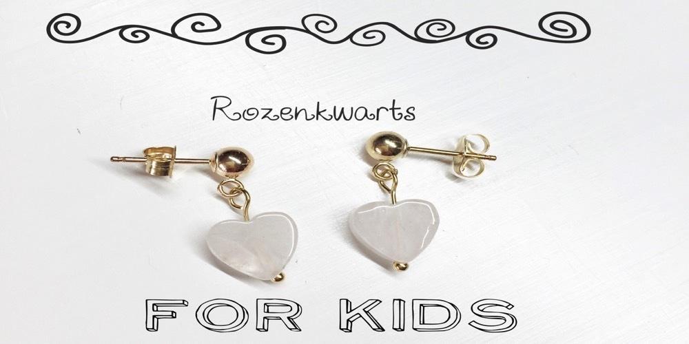 edelsteen Rozenkwarts oorbel kids hart