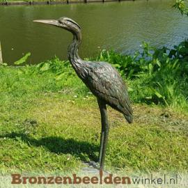 Bronzen vijver beeld reiger BBWR88630