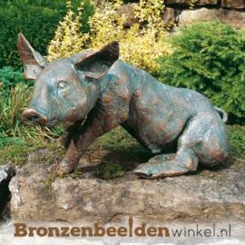 Tuinbeeld varken brons BBW87001