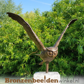 Tuinbeeld uil op hardsteen sokkel BBW1251br