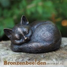 Bronzen beeld slapende kat BBW1228