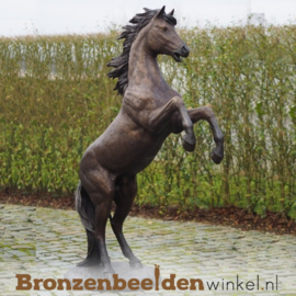 Bronzen steigerend paard tuinbeeld BBWB1109
