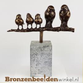 Vogel beeldje vader, moeder en 3 kinderen BBWVM3K