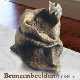 Bronzen muisje met jutezak BBW37046