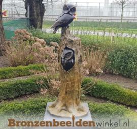 Bronzen uilenboom beeld met twee uilen BBW37230
