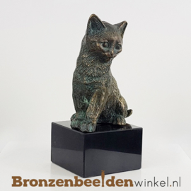 Katten beeld brons op sokkel BBWR89006