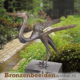 Bronzen reiger beeld BBW87198