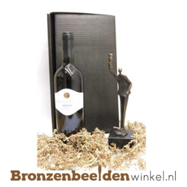 Afscheidscadeau wijn met beeldje BBW00386GP