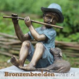 Bronzen jongen met fluit en lam BBW0687br
