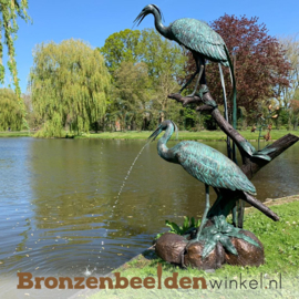 Bronzen reigers als fontein BBW948br