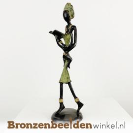"""Afrikaans beeld """"De lezende moeder"""" 26 cm BBW009br04"""