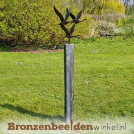 Abstracte tuinbeeld 3 ganzen op Leisteen sokkel BBWF3GLS