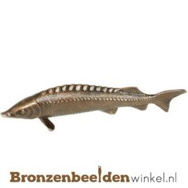 Dierenbeeldje snoek vis van brons BBWP4368