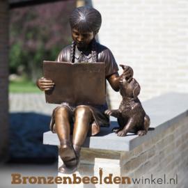 Bronzen lezend meisje met hondje BBW810-1
