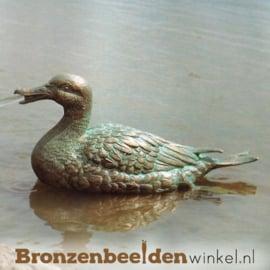 Spuitfiguur zittende eend in brons BBWR88168