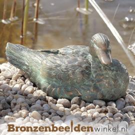 Beeld zittende eend in brons BBWR90107