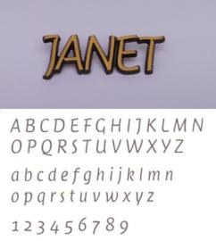 Bronskleurige letters Janet