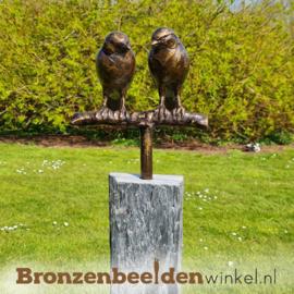 Tuinbeeld vogel paartje op sokkel BBWVMOS