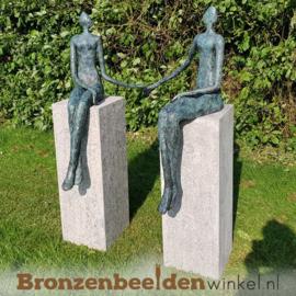"Bronzen ""Zittend Paar"" tuinbeeld BBW52848br"