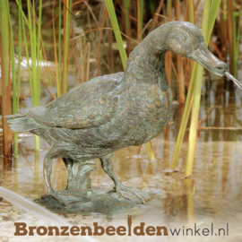 Tuinbeeld eend in brons BBWR90109