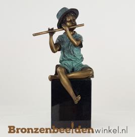 Bronzen jongen met fluit BBW1341br