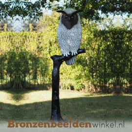 Bronzen witte uil tuinbeeld BBW57490