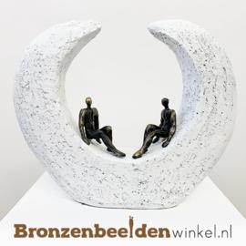 """Vriendschap beeldje """"Diepgaande gesprekken"""" BBW005br15 -WIT-"""