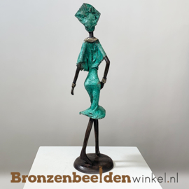 """Afrikaans beeld """"Sierlijk"""" 35 cm BBW009br55"""