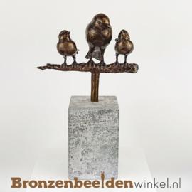Vogel beeldje moeder met 2 kinderen BBWM2K