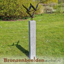 Abstracte tuinbeeld 3 ganzen op Hardsteen sokkel BBWF3GHS