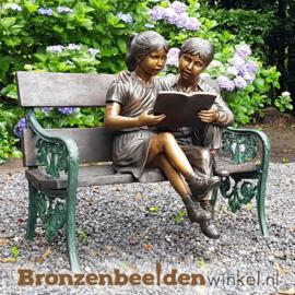 """Groot beeld """"Lezende kinderen"""" op bankje BBW749"""