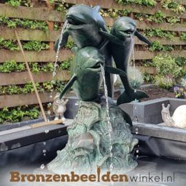 Bronzen dolfijnen beeld als fontein BBW586BR