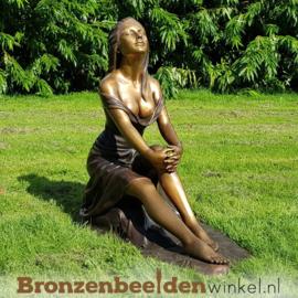 """Vrouwenbeeld """"Zonnegenieter"""" brons BBW1186br"""