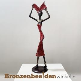 """Afrikaans beeld """"Doortastend"""" 35 cm BBW009br51"""