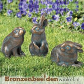 Bronzen konijnen beeldjes BBW37991