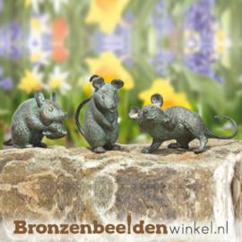 Dierenbeeldje muisjes van brons BBW37998